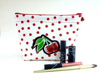cosmetic bag, makeup bag, wet bag, toiletry storage, vanity storage, travel bag, retro Rockabilly cherries, gift for her, Mother's Day