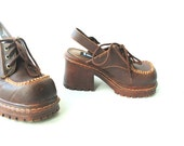 Life, energy, intelligence vintage 90s, brown, man made material , chunky ,strap on clogs. Made by L.E.I. Size 9.