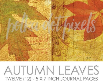 Autumn Leaves Digital Junk Journal Printable Pages Paper Pack