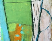 Abstract vessel, Mini Terrarium, original oil painting on arches paper