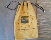 Vintage Canvas US Bank Drawstring Money Bag