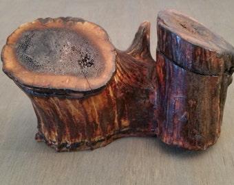 Vintage/Antique Deer Antler Inkwells or Lidded Trinket Boxes, Two Antlers Joined Together