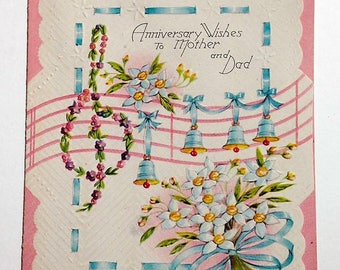 Vintage Greeting Card Anniversary Wishes to Mother and Dad 1940s NOS