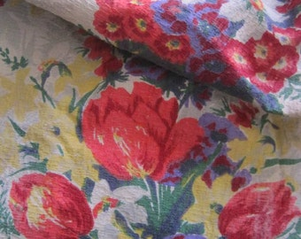 Gorgeous Vintage French Floral Barkcloth Fabric