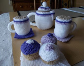 Knitted coffee set, knitted play food, knitted coffee pot,Knitted toy coffee set