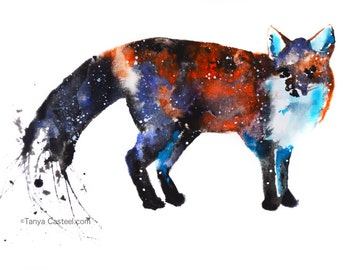 Fox Spirit Animal Art Print Watercolor 8x10