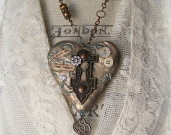 Altered Mixed Media Jewelry Altered Keyhole Necklace Vintage  Escutcheon  Necklace  Vintage Mixed Media Vintage Gypsy Necklace Heart Pendant