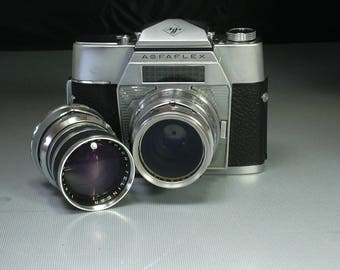 Vintage Working Agfaflex 35mm Film Camera with Case, Two Primes Lenses and Instruction Booklet