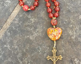Carnelian and Moukite Anglican Rosary  Protestant Prayer Beads. Episcopal Rosary. Episcopal Rosary.  Groom's Rosary