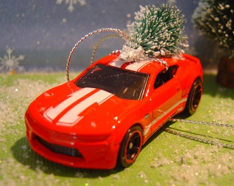 2016 Red Chevy Camaro SS car with Christmas tree ornament