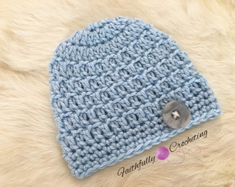 Newborn boy beanie... baby blue hat.. button beanie.. photography prop.. ready to ship