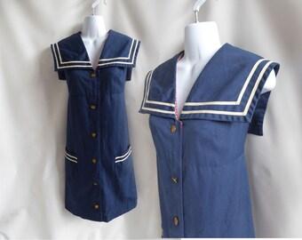 Vintage 60s Sailor Dress Size L Navy Blue Mod Cotton Shift Nautical Anchor 50s