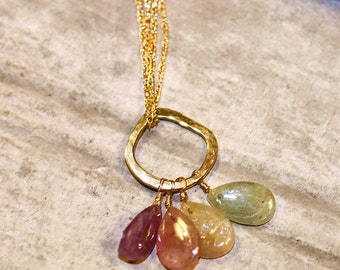 18k Gold and Gemstone Pendant Necklace
