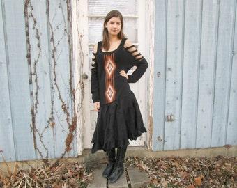 Tribal Southwestern Drop Waist Cold Shoulder Sweater Dress// Large XL// Black Caramel// Upcycled// emmevielle