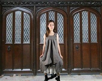 Gray Linen Lagenlook Dress// Sleeveless// Made to Order// Small Medium Large XL 1X// emmevielle