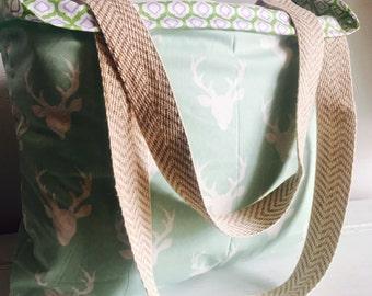 Deer diaper bag, deer bag, deer tote, Buck forest, diaper bag, diaper tote, large tote, large bag, bag, tote, extra large bag, beach bag,