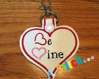 Valentine Snap Tab Be Mine heart shaped ITH Snap Tab 4x4 Hoop embroidery design ** Not Physical Item** Must have embroidery machine**