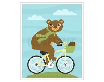46A Brown Bear Print - Bear on Bicycle Wall Art - Bicycle Print - Bicycle Drawing - Art for Children - Boy Nursery Wall Art - Bear Art