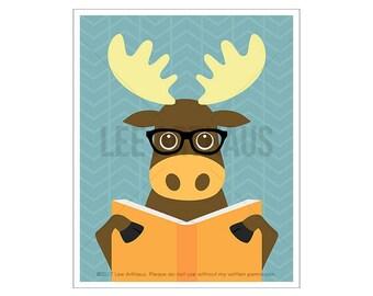135A - Woodland Art Prints - Moose Reading Book Wall Art - Whimsical Animal Decor - Funny Moose Drawing - Moose Print - Moose Home Decor