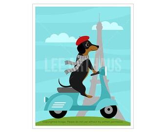 171D Dog Print - Dachshund on Vespa in Paris Wall Art -Dachshund Print - Bicycle Print - Eiffel Tower Wall Art - Paris Print