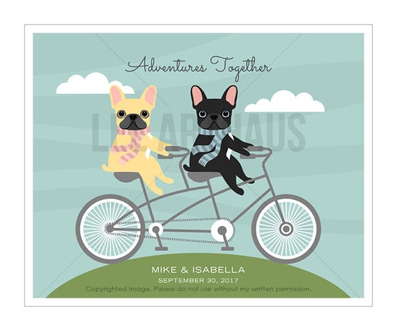 205P Personalized Dog Print - Two French Bulldogs on Bicycle Wall Art - Adventures Together - Anniversary Gift - Couple Gift - Gift for Her