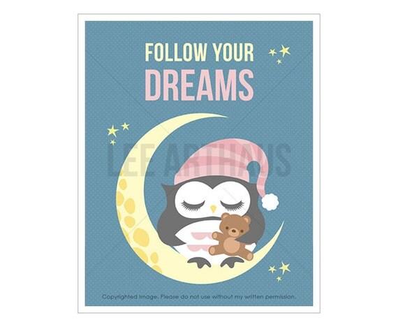 3T Owl Art Prints - Follow Your Dreams - Baby Girl Owl Sleeping on Moon Wall Art - Cute Animal Prints - Modern Art for Kids - Dreams Print