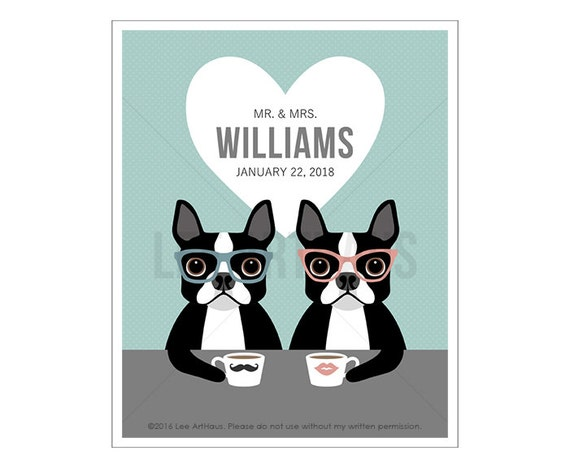 217P Personalized Wedding Gift - Custom Name Mr and Mrs Boston Terrier Wall Art - Funny Anniversary Gift - Coffee Wall Art - Couple Gift