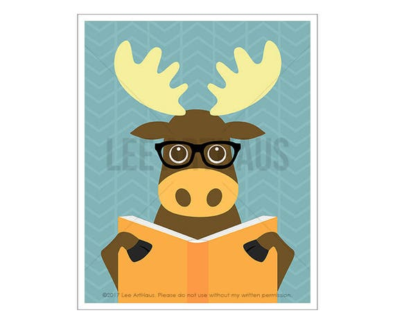 135A - Woodland Art Prints - Moose Reading Book Wall Art - Whimsical Animal Decor - Funny Moose Drawing - Moose Print - Moose Home Decor