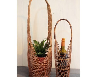 tall rattan basket with handle - wine holder - plant basket - boho home decor