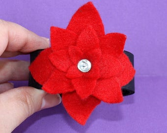 Red Flower Cuff - Leather and Felt Bracelet