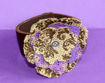 Burlap Flower Cuff - Leather and Printed Burlap Bracelet - Purple