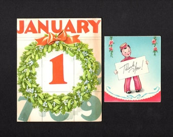 Two vintage greeting cards - New Years and Thank You