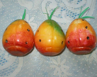 3 Pineapple Carved Stone Marble Alabaster Fruit Vintage