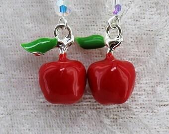 Apple Dangle Earrings, Red Apple Jewellery, Summer Earrings, Fruit Jewellery, Fruit Earrings, Apple Enamel Charms, Teacher's Gift 35ECER01