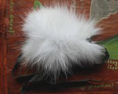 Fur bracelet - Real Arctic fox fur bracelet or anklet with recycled leather straps for neotribal costume and festival wear