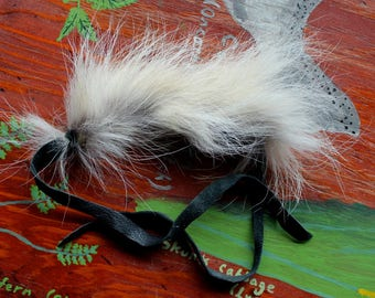 Fur bracelet - Real coyote fur bracelet or anklet with recycled leather straps for neotribal costume and festival wear