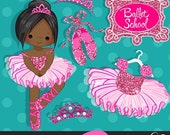 Ballerinas and Tutus Hot Pink Glitter Clipart, ballerina, hot pink tutu, hot pink tiara, ballet shoes, ballet dress, african american