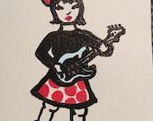 Rocker Girl Hand Painted Notecard