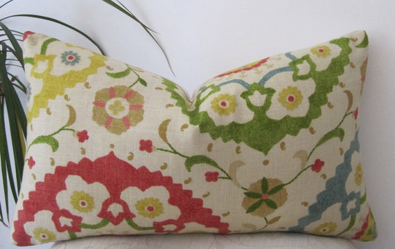 Richloom Suzani Print in Red/Green/Yellow/Turquoise/Cream- Lumbar Pillow cover-  Designer Pillow Cover -
