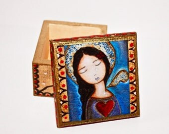 Tears - Angel -  Original Mixed Media Handmade Jewelry Box Folk Art by FLOR LARIOS