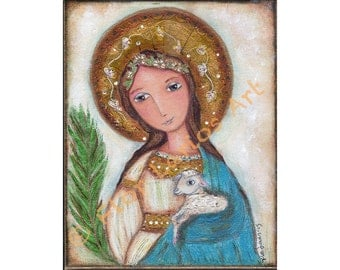 Saint Agnes of Rome -  Giclee print mounted on Wood (4 x 5 inches) Folk Art  by FLOR LARIOS