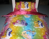 """Cute 4 Piece American Girl Inspired 18"""" Doll Bedding My Little Pony 3 Pillows Bedspread With Hot Pink Satin"""