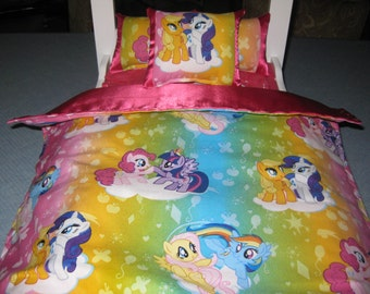 "Cute 4 Piece American Girl Inspired 18"" Doll Bedding My Little Pony 3 Pillows Bedspread With Hot Pink Satin"