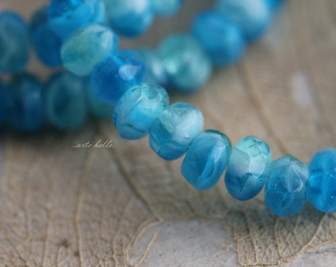 SPRING WATERS No. 2  .. 30 Picasso Glass Czech Rondelle Beads 3x5mm (5630-st)