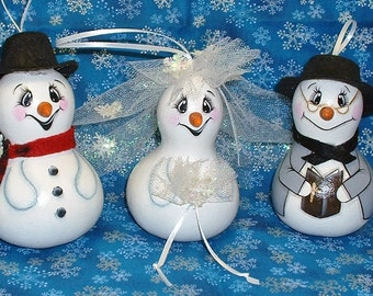 Frosty, Crystal, Parson Brown Christmas Tree Gourd Ornaments - Hand Painted Gourds Set of 3