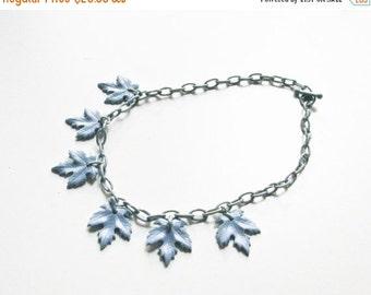 Sale Vintage Blue Leaves Necklace, 1950s Plastic Necklace