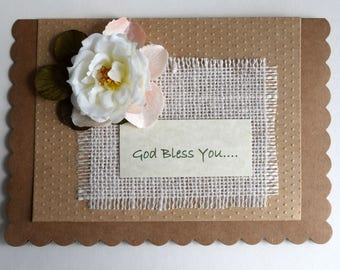 God Bless You Greeting Card, Blank Greeting Card, Burlap with Rose, Rustic, Feminine, All Occasion, Invitation, Announcement