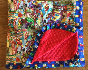 NEW - Marvel Comics The Avengers Super Hero Minky - Adult Wrap Around Blanket...PERSONALIZATION AVAILABLE