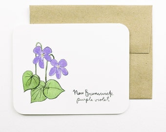 New Brunswick | Purple Violet - Flowers of the Provinces and Territories card with envelope | Canadian flowers | Greeting card