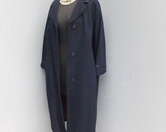 Vintage 60s/70s Dress Coat, Professional Coat, Secretary, Day or Evening Coat, Navy Blue, Ex Large, Plus Size